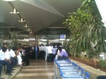 People watching the cricket at theairport